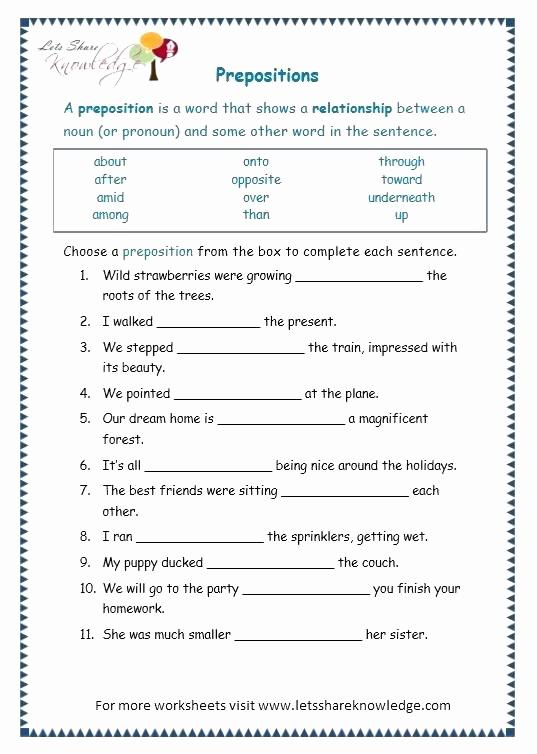 Preposition Worksheets Middle School Unique 20 Preposition Worksheets for Middle School Printable