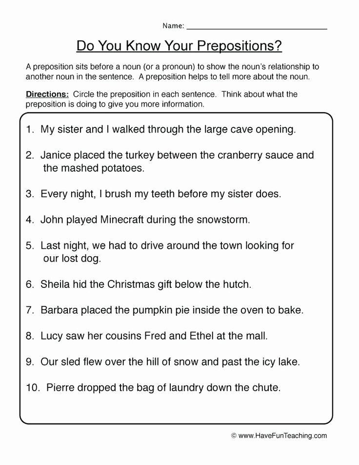 Prepositions Worksheets Middle School Inspirational Preposition Worksheets for Middle School In 2020