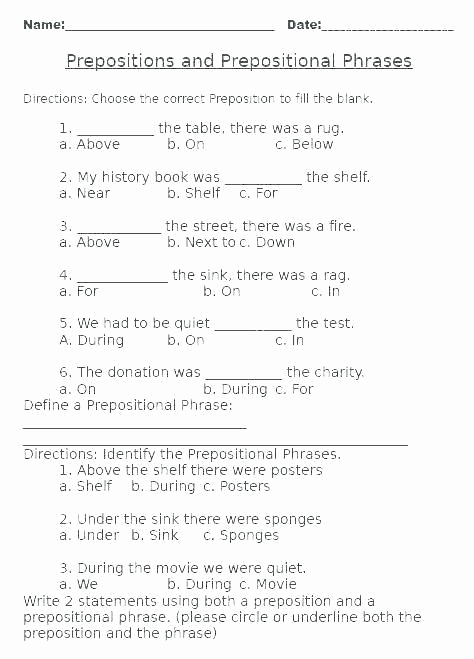 Prepositions Worksheets Middle School Lovely Preposition Worksheets Middle School Pin Examples