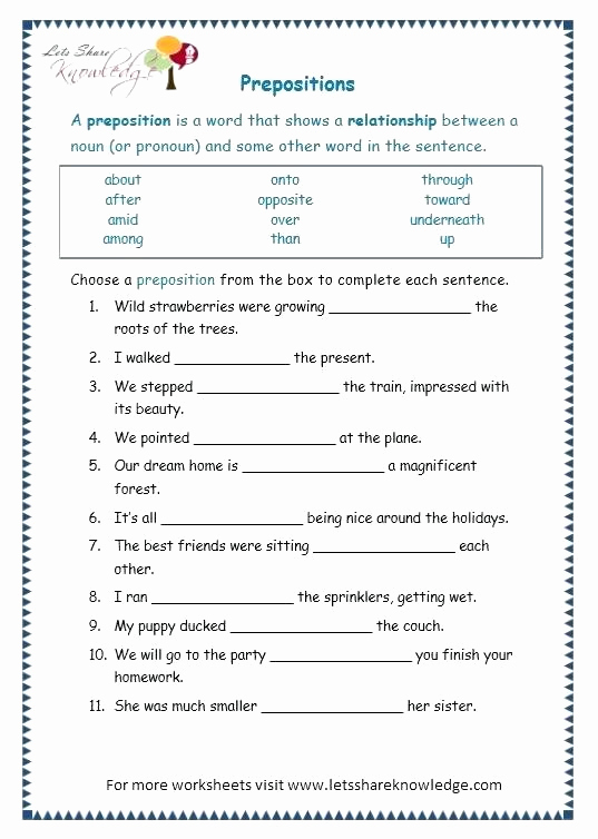 Prepositions Worksheets Middle School Luxury 20 Preposition Worksheets for Middle School Printable