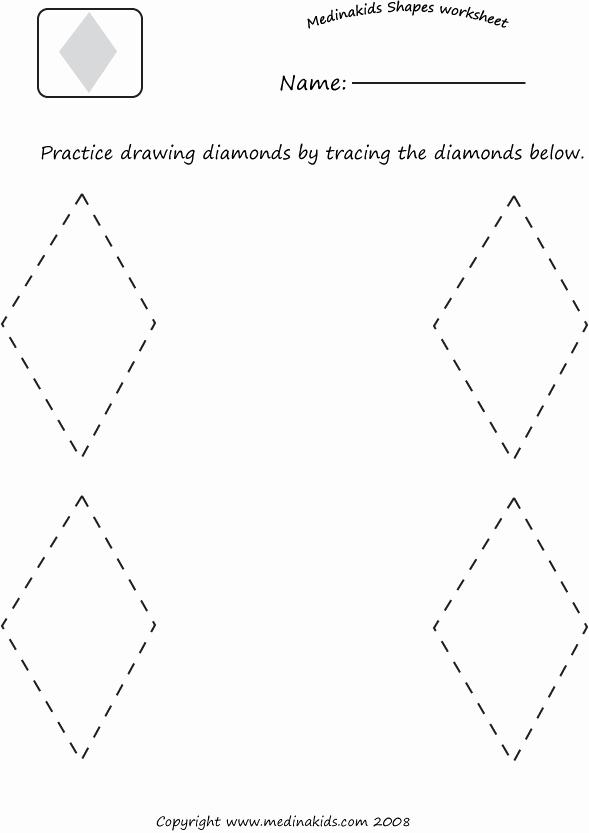 Preschool Diamond Shape Worksheets Beautiful Diamond Shape Worksheets & Free Diamond Shape