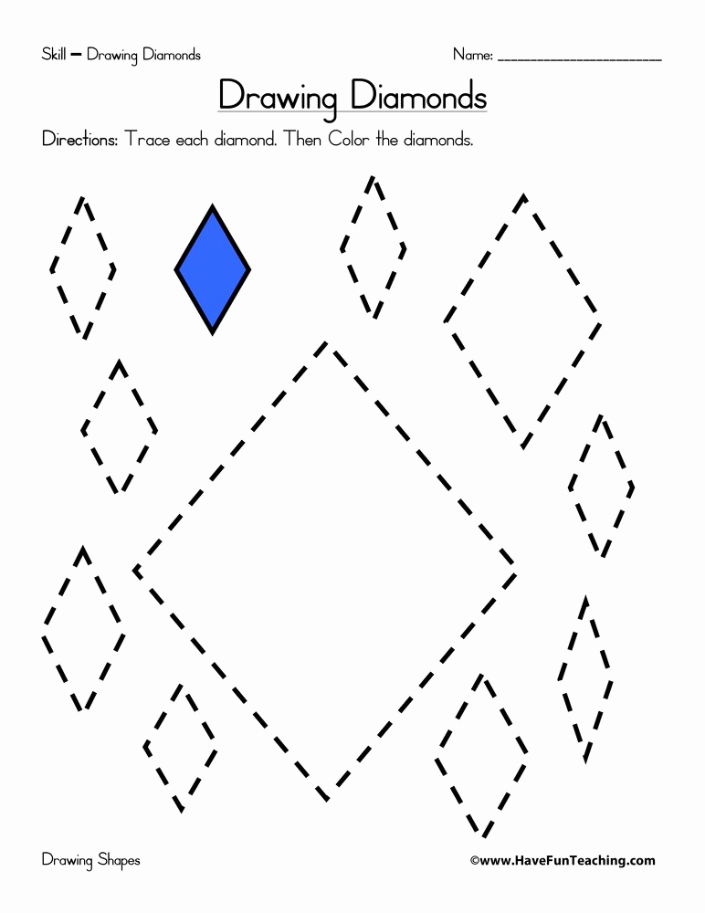 Preschool Diamond Shape Worksheets Best Of Drawing Diamonds Worksheet