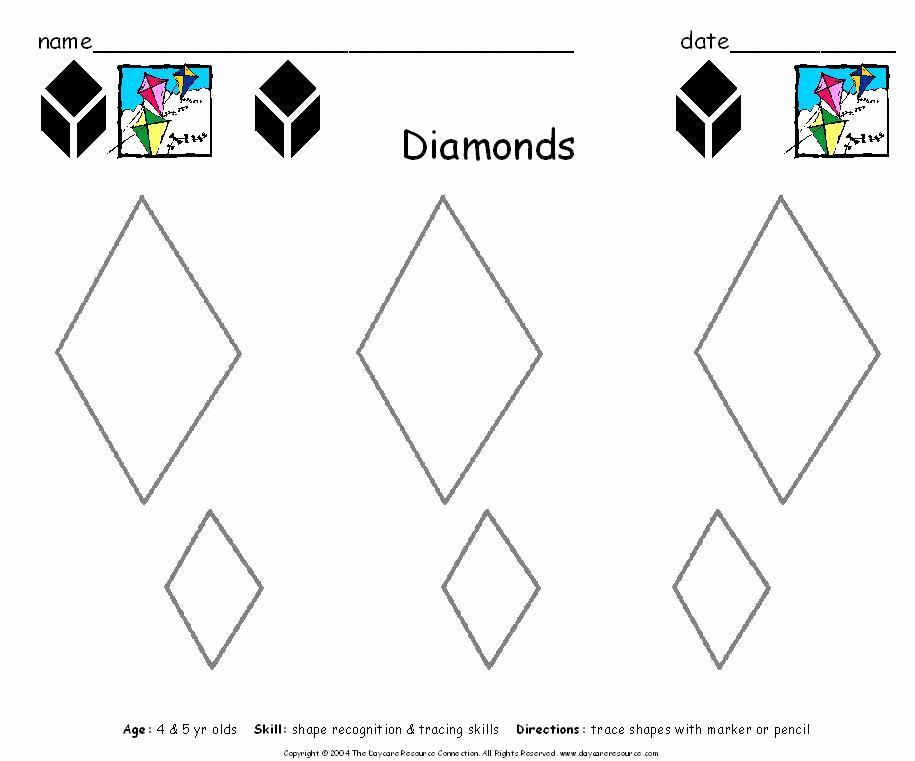 Preschool Diamond Shape Worksheets Fresh 5 Best Of Printable Preschool Worksheets Diamond