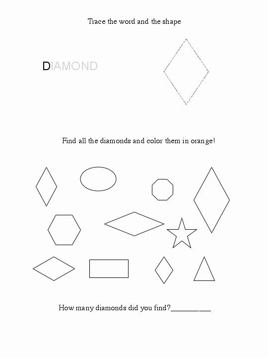 Preschool Diamond Shape Worksheets Fresh Free Diamond Worksheet