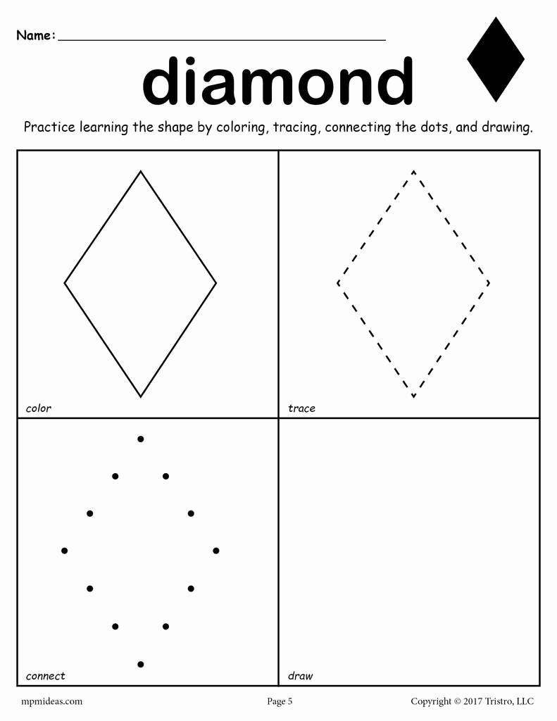 Preschool Diamond Shape Worksheets Inspirational Diamond Worksheet Color Trace Connect & Draw – Supplyme