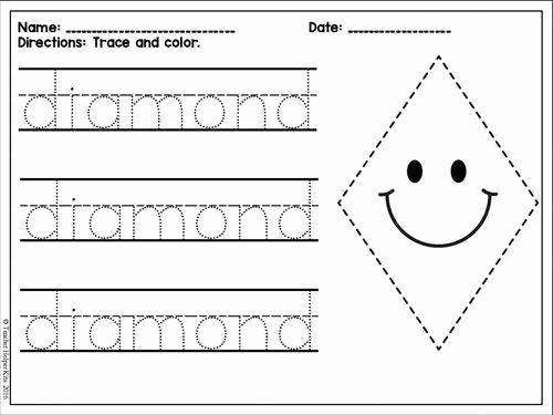 Preschool Diamond Shape Worksheets Inspirational Practice Tracing A Diamond Shape and Writing the Letter