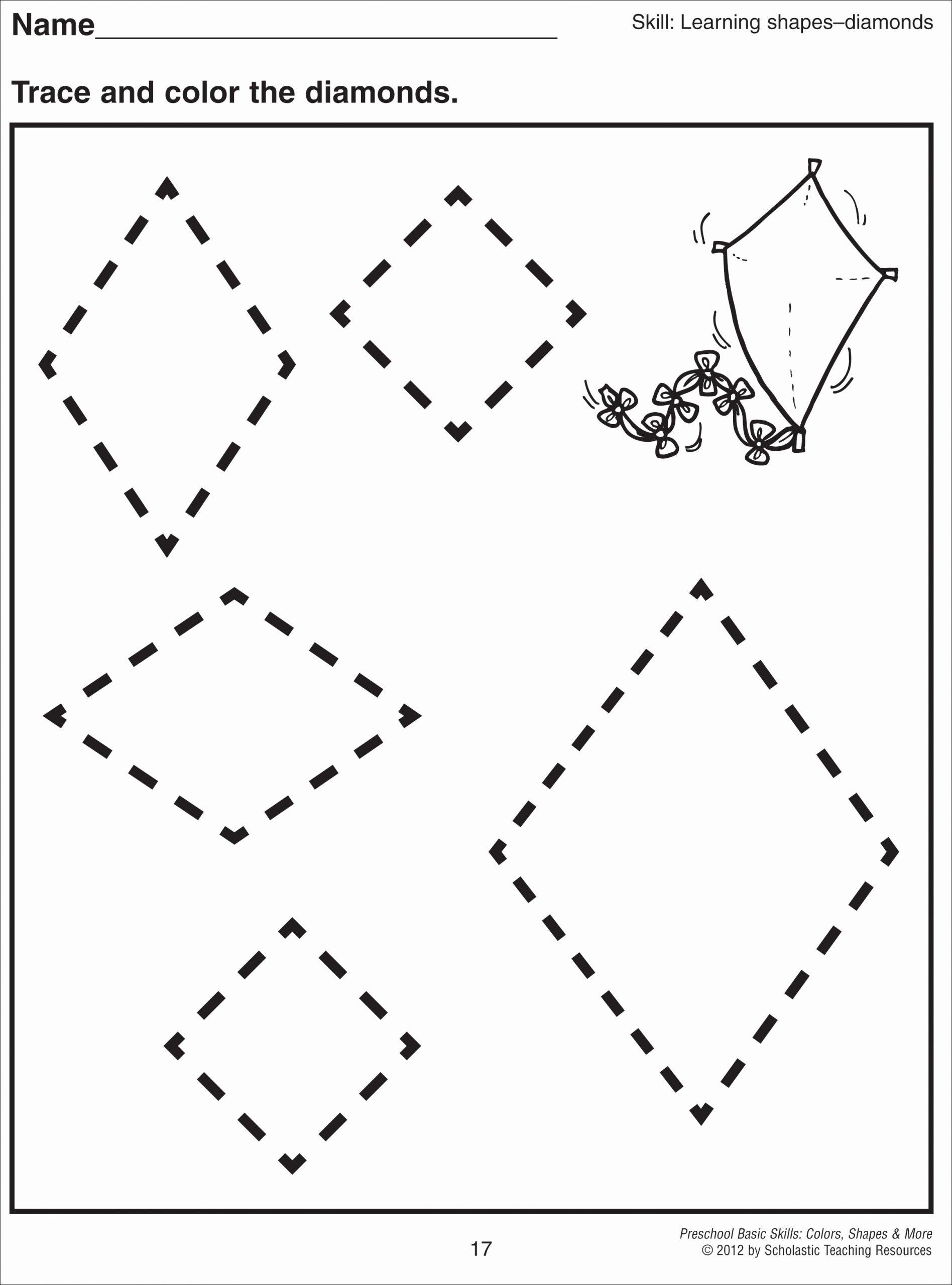Preschool Diamond Shape Worksheets Lovely 5 Best Of Printable Preschool Worksheets Diamond