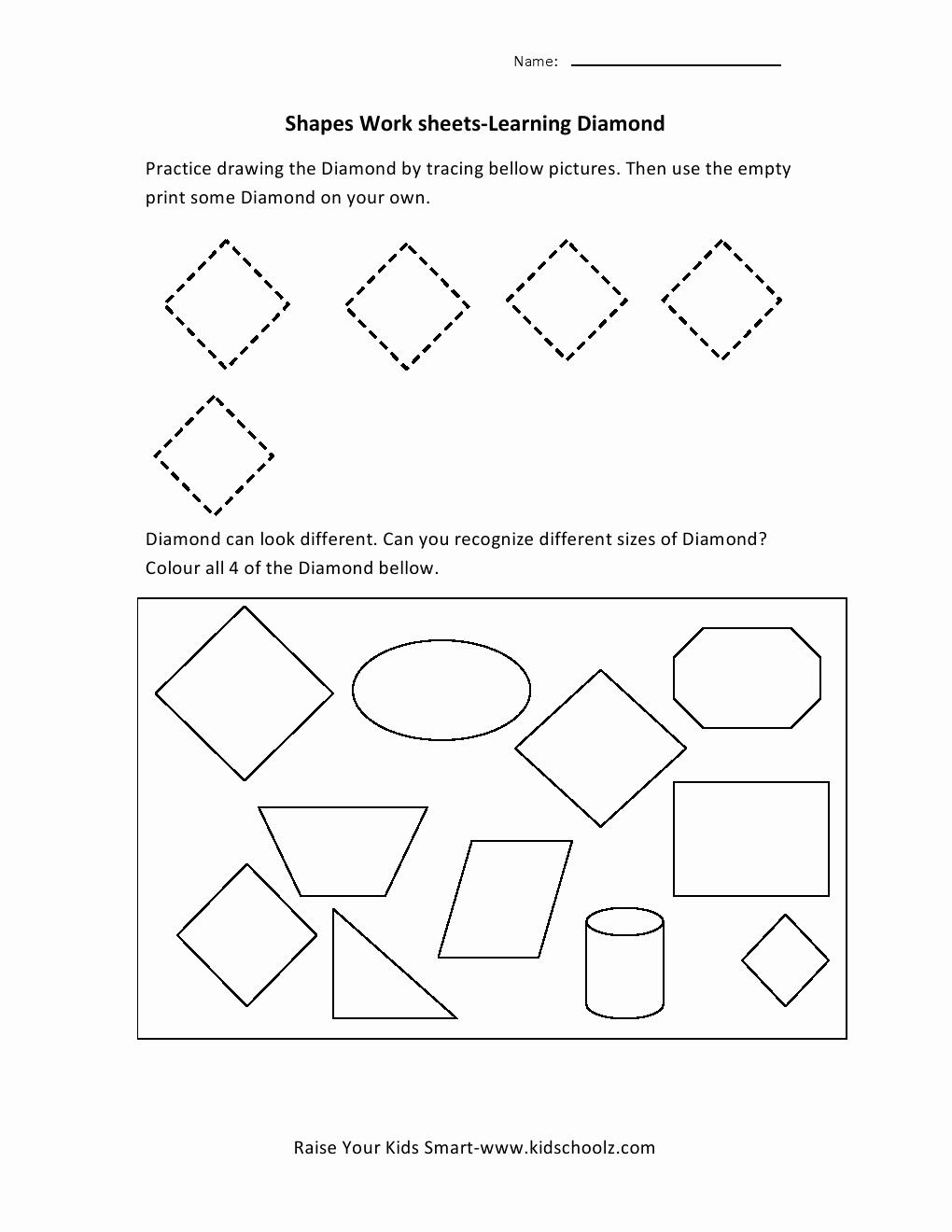 Preschool Diamond Shape Worksheets Lovely 8 Best Of Diamond Worksheets for Preschoolers