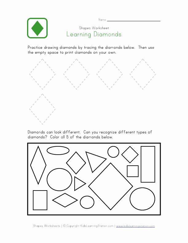 Preschool Diamond Shape Worksheets Luxury 5 Best Of Printable Preschool Worksheets Diamond