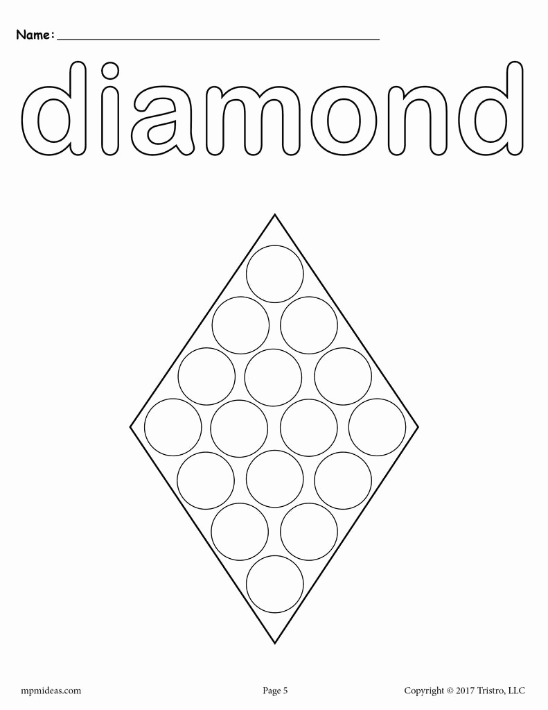 Preschool Diamond Shape Worksheets Luxury 8 Diamond Worksheets Tracing Coloring Pages Cutting