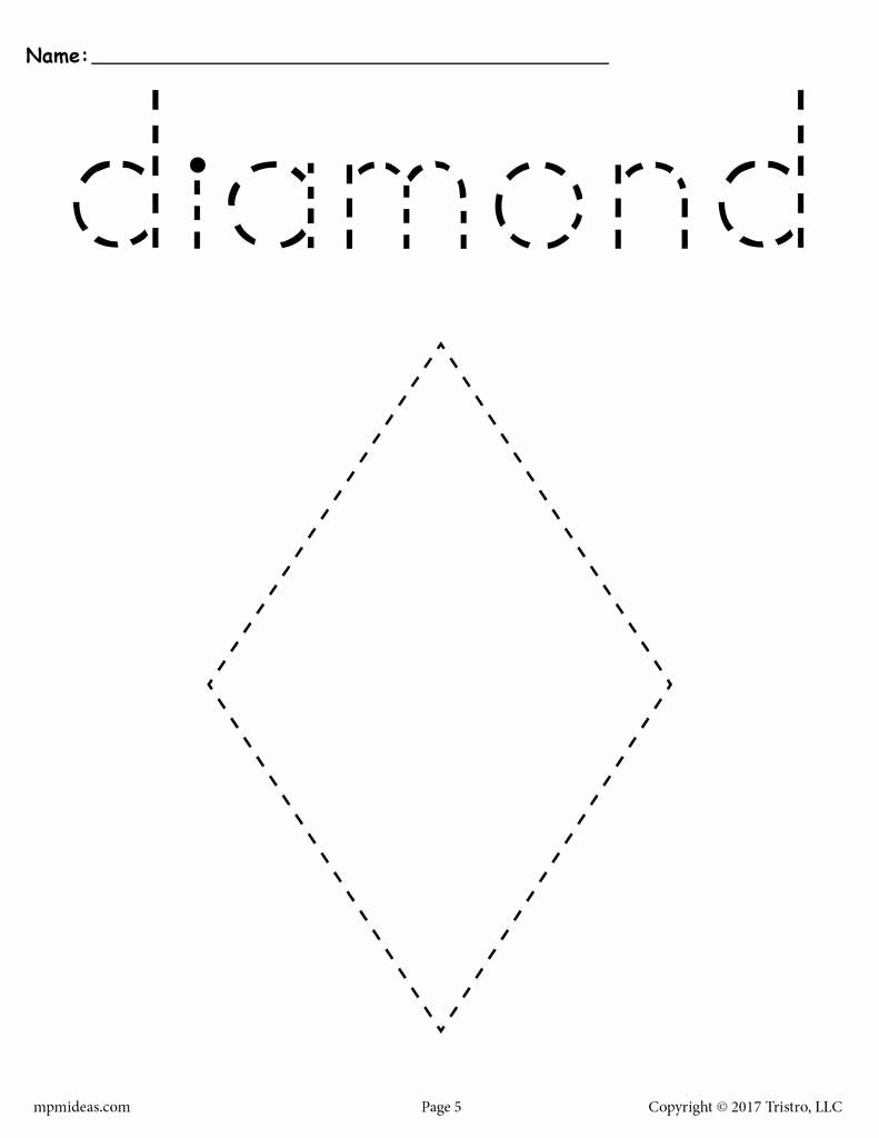 Preschool Diamond Shape Worksheets New Diamond Tracing Worksheet Printable Tracing Shapes