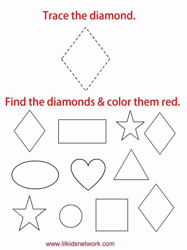 Preschool Diamond Shape Worksheets New Tracable Diamond Worksheet