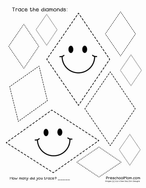 Preschool Diamond Shape Worksheets Unique Diamond Shape Worksheets for Preschool Preschool