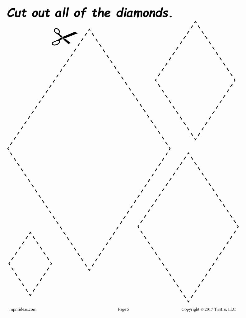 Preschool Diamond Shape Worksheets Unique Diamonds Cutting Worksheet Diamonds Tracing & Coloring