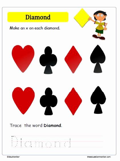 Preschool Diamond Shape Worksheets Unique Learning Diamond Shape Worksheets for Kids Edumonitor