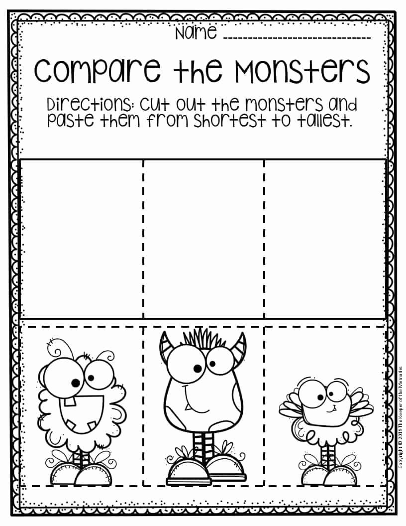 Preschool Halloween Worksheets Free Elegant Free Printable Paring Monsters Halloween Preschool