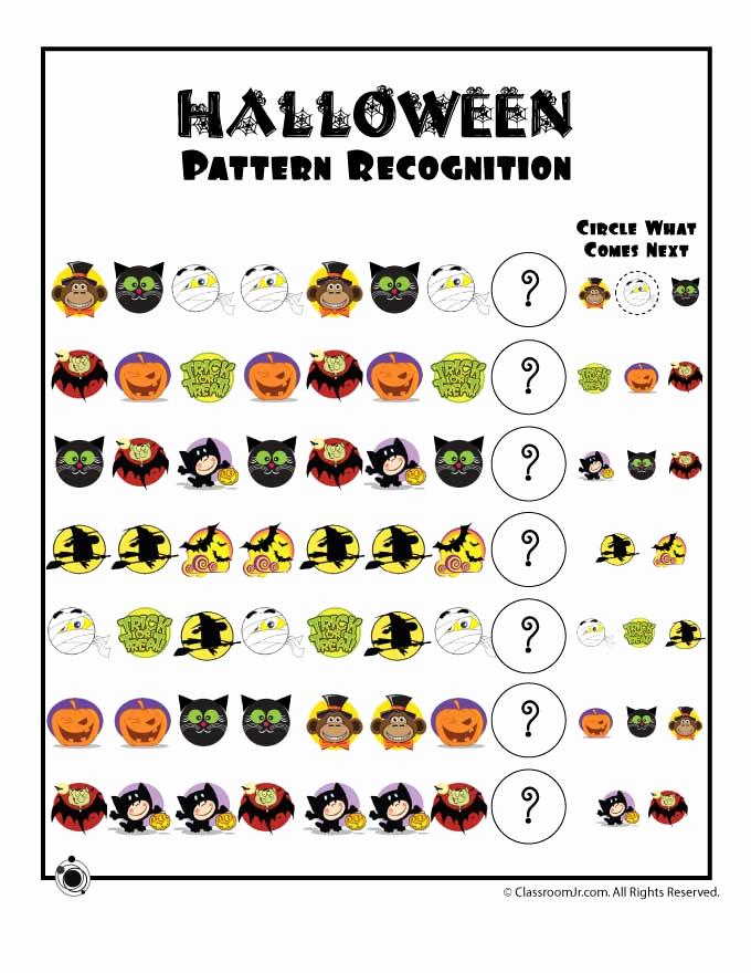 Preschool Halloween Worksheets Free Inspirational Halloween Pattern Recognition Worksheet