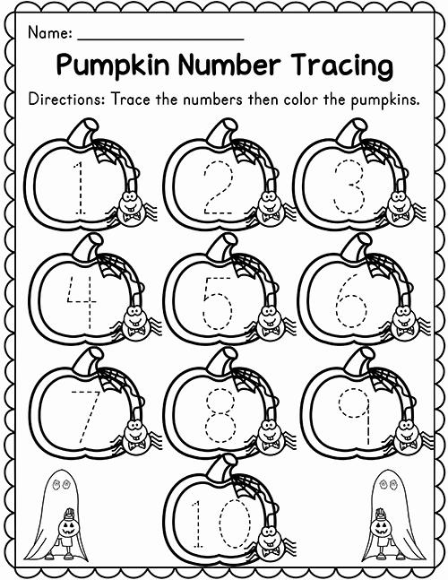 Preschool Halloween Worksheets Free Lovely Pumpkin Number Tracing 1 10 Madebyteachers