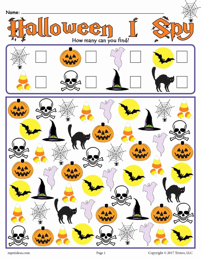 Preschool Halloween Worksheets Free New Halloween I Spy Printable Halloween Counting Worksheet