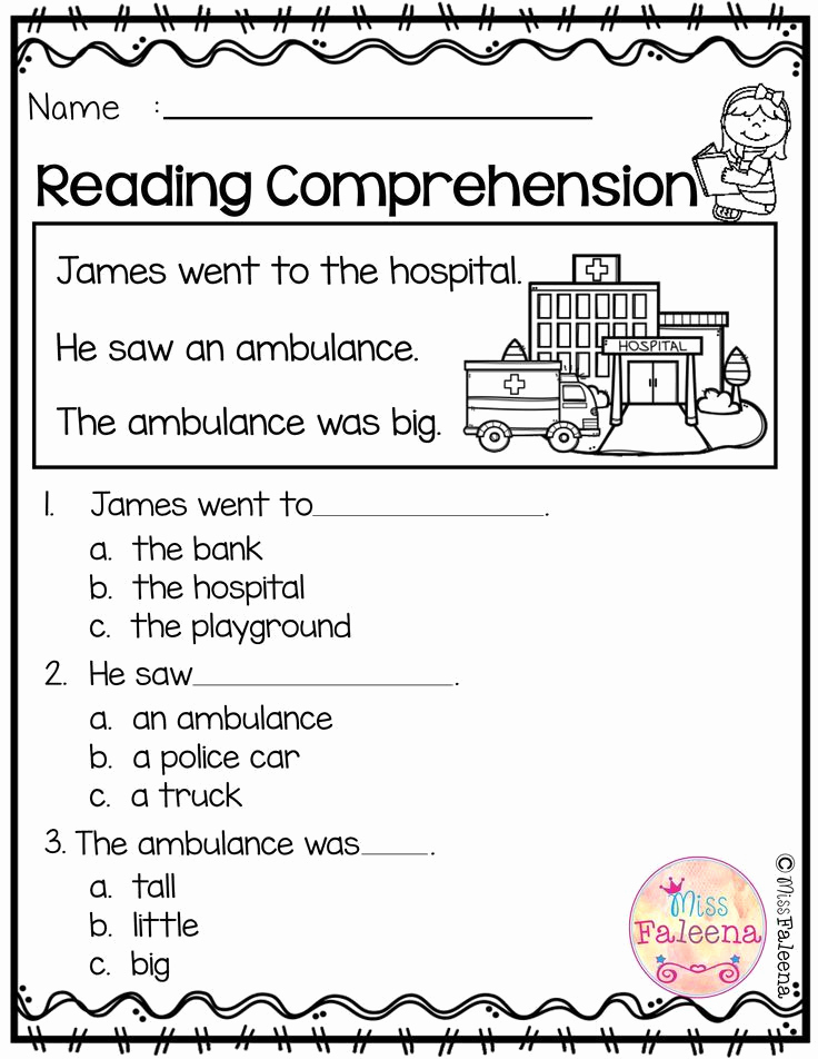 Preschool Reading Comprehension Worksheets Awesome Free Reading Prehension