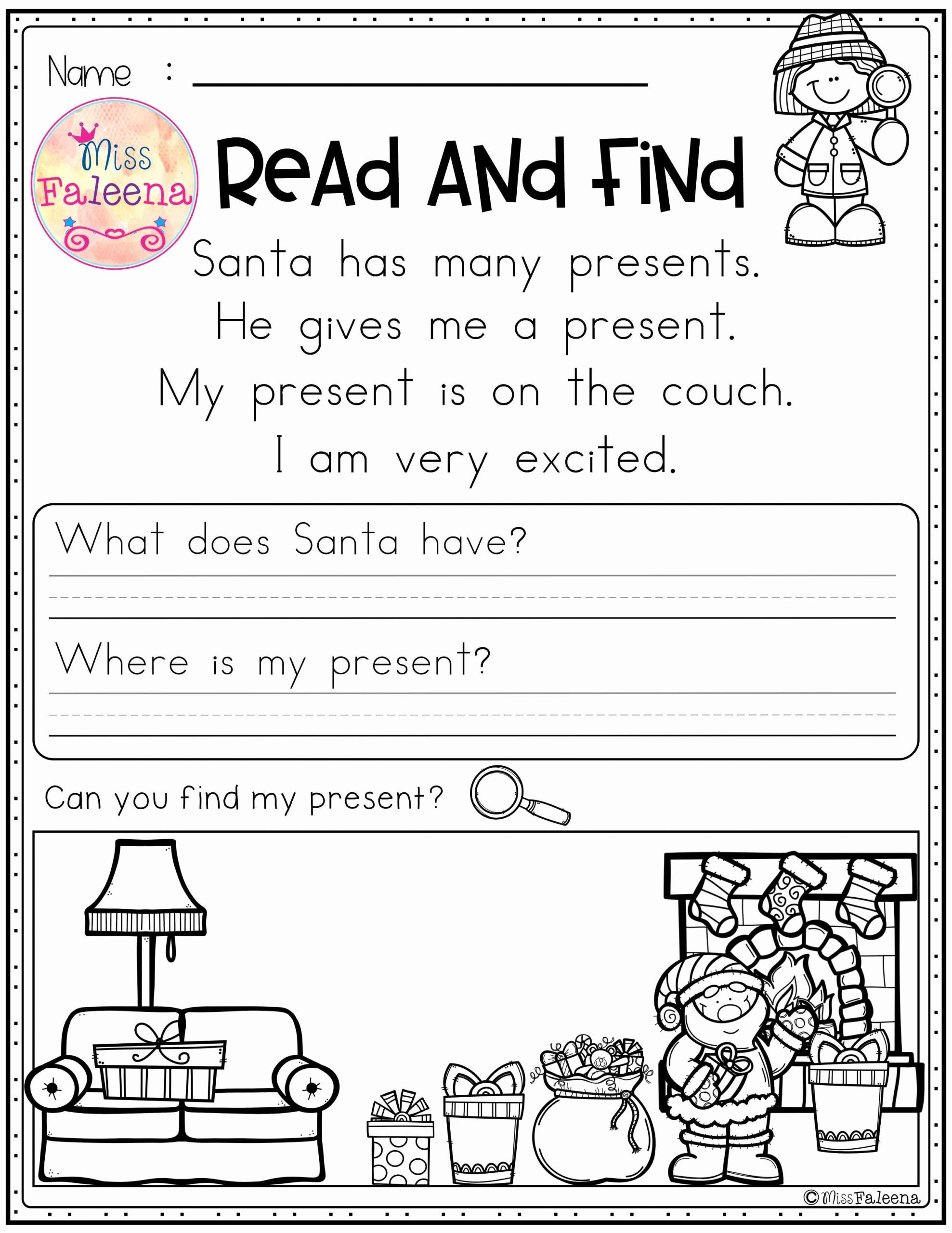 Preschool Reading Comprehension Worksheets Awesome Free Reading Prehension Read and Find