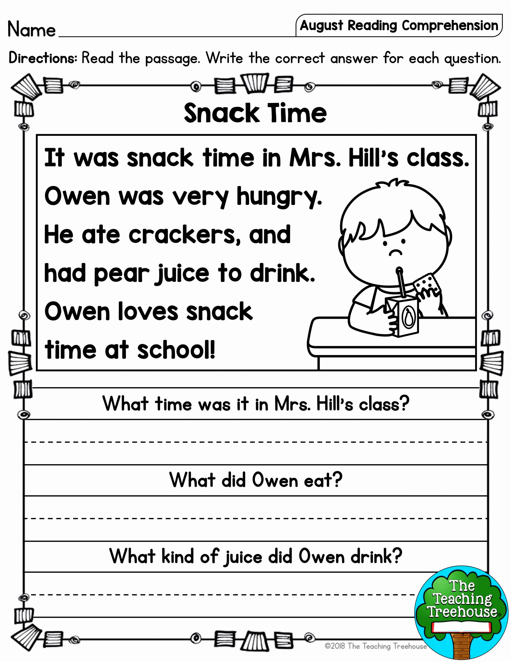 Preschool Reading Comprehension Worksheets Elegant This Free Reading Prehension Activity is Ideal for