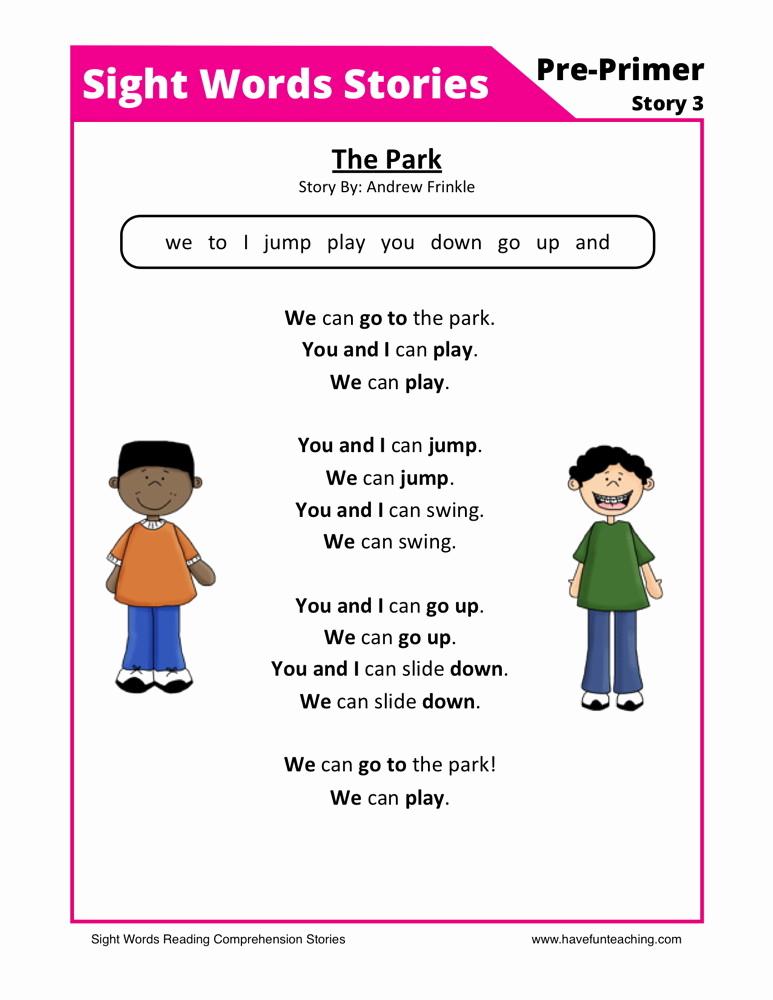 Preschool Reading Comprehension Worksheets Fresh Reading Prehension Worksheet the Park