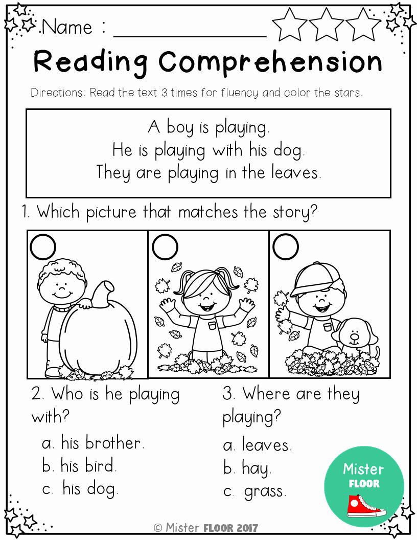 Preschool Reading Comprehension Worksheets Inspirational Kindergarten Reading Prehension Fall