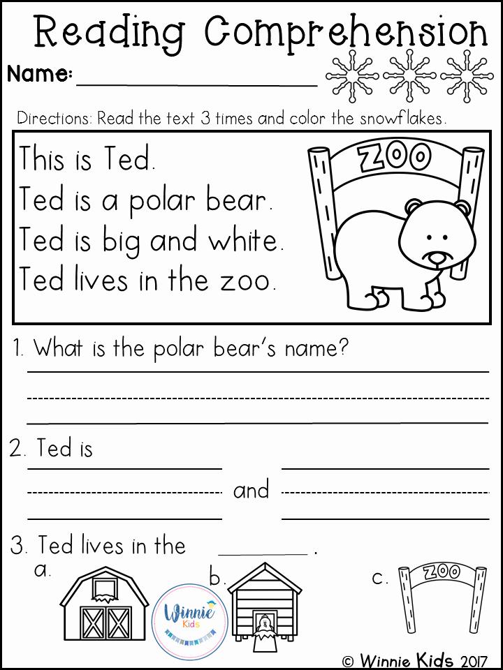 Preschool Reading Comprehension Worksheets Inspirational Kindergarten Reading Prehension Passages Winter