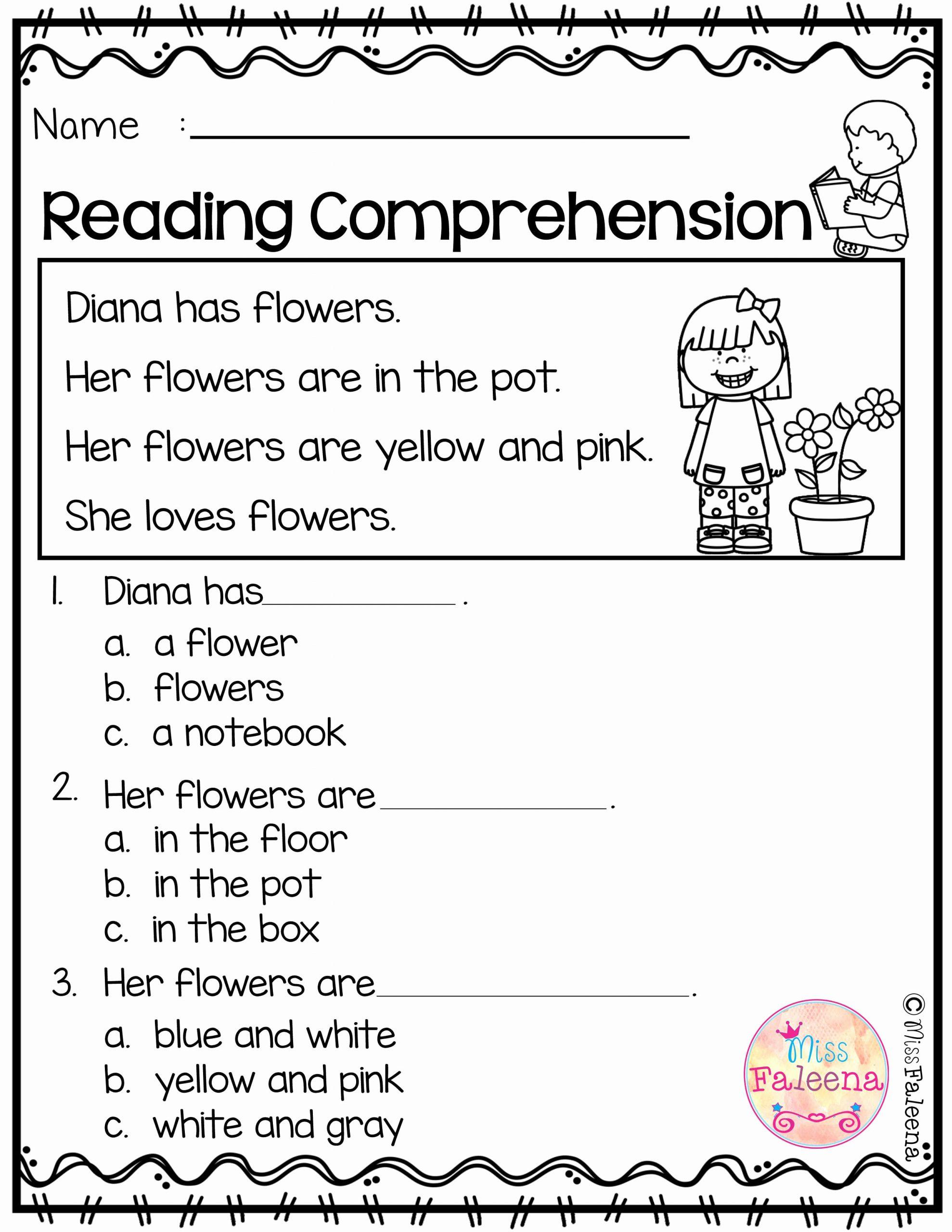 Preschool Reading Comprehension Worksheets Lovely Kindergarten Worksheets Reading Prehension
