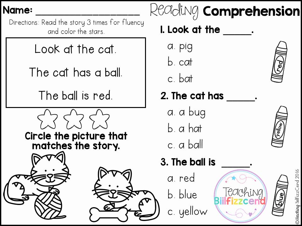 Preschool Reading Comprehension Worksheets New Free Kindergarten Reading Prehension for Beginning