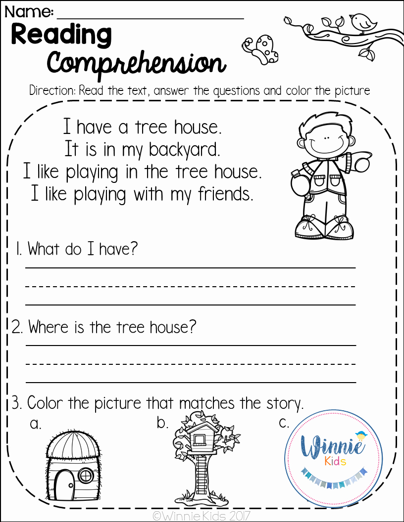 Preschool Reading Comprehension Worksheets New Kindergarten Reading Prehension Passages Spring