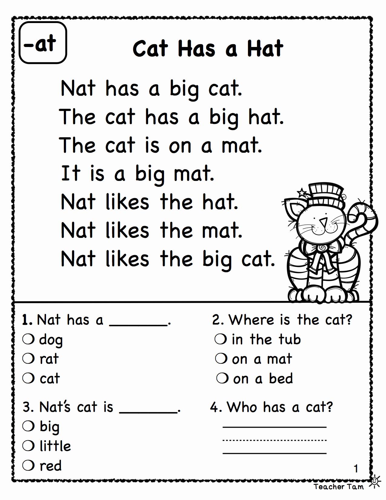 Preschool Reading Comprehension Worksheets New Reading Prehension Set 1 From Teacher Tam