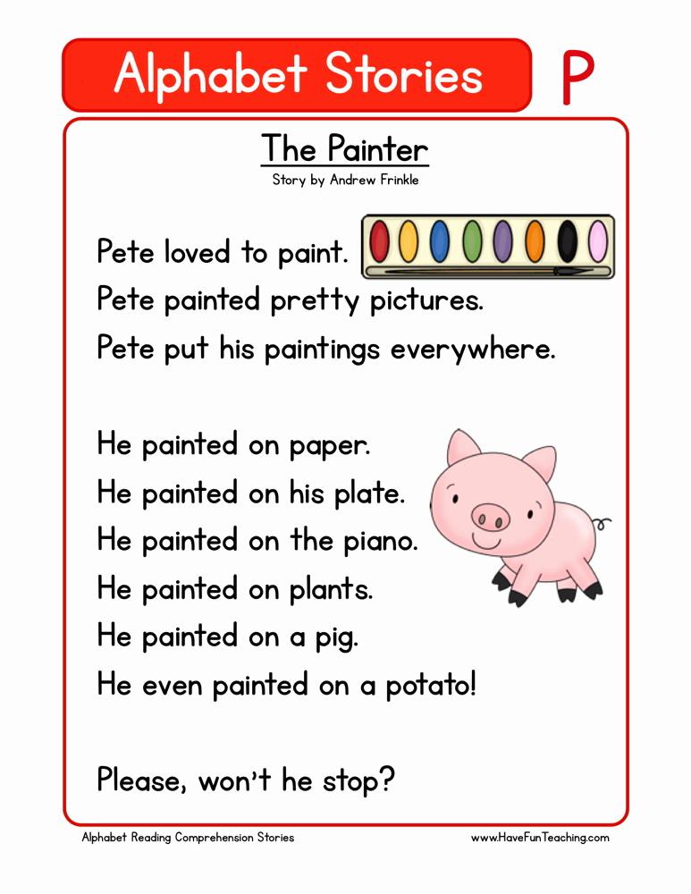 Preschool Reading Comprehension Worksheets New Reading Prehension Worksheet the Painter