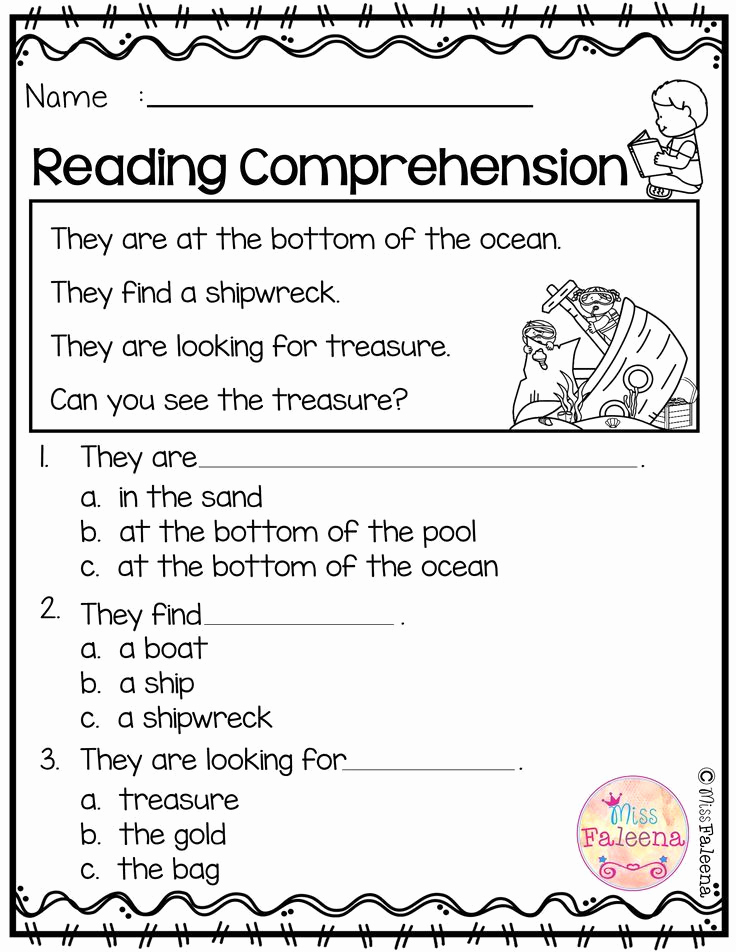 Preschool Reading Comprehension Worksheets Unique Free Reading Prehension