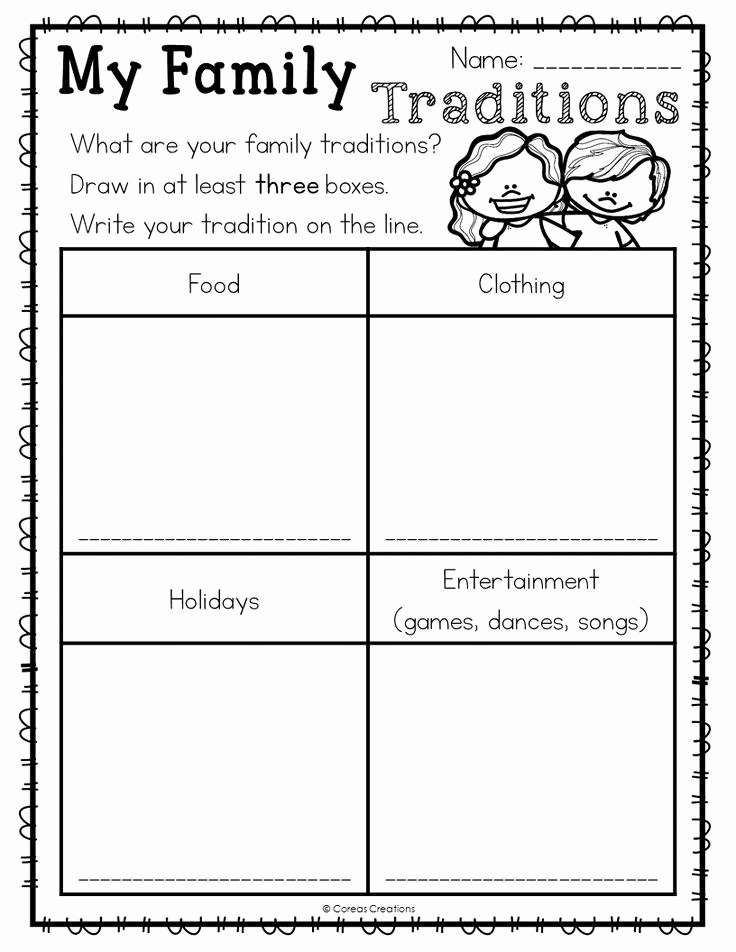 Preschool social Studies Worksheets Elegant Family Traditions with Images
