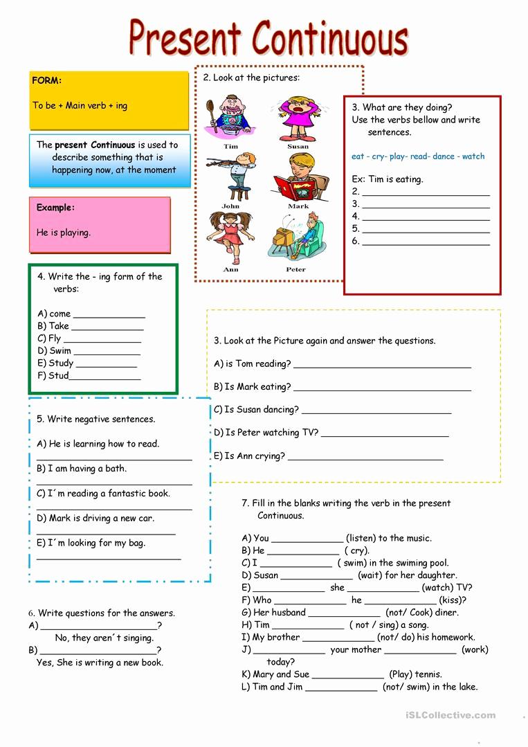 Present Progressive Worksheets Awesome Present Continuous Worksheet Free Esl Printable