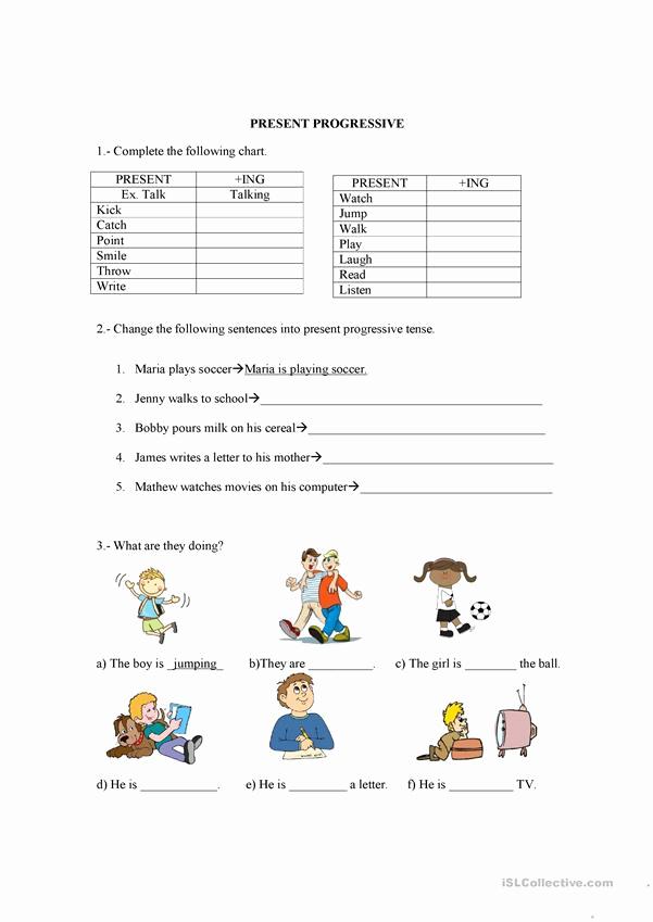 Present Progressive Worksheets Awesome Present Progressive English Esl Worksheets for Distance