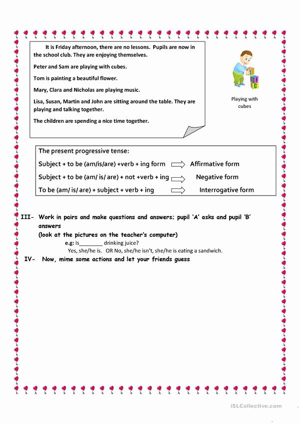 Present Progressive Worksheets Awesome the Present Progressive Tense English Esl Worksheets for