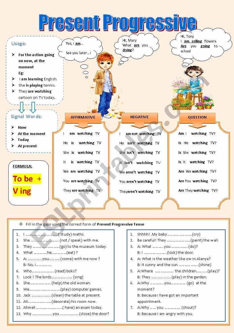 Present Progressive Worksheets Best Of the Present Progressive Tense Esl Worksheet by Turac
