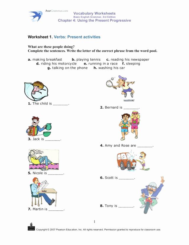 Present Progressive Worksheets Best Of Using the Present Progressive Verbs Present Activities