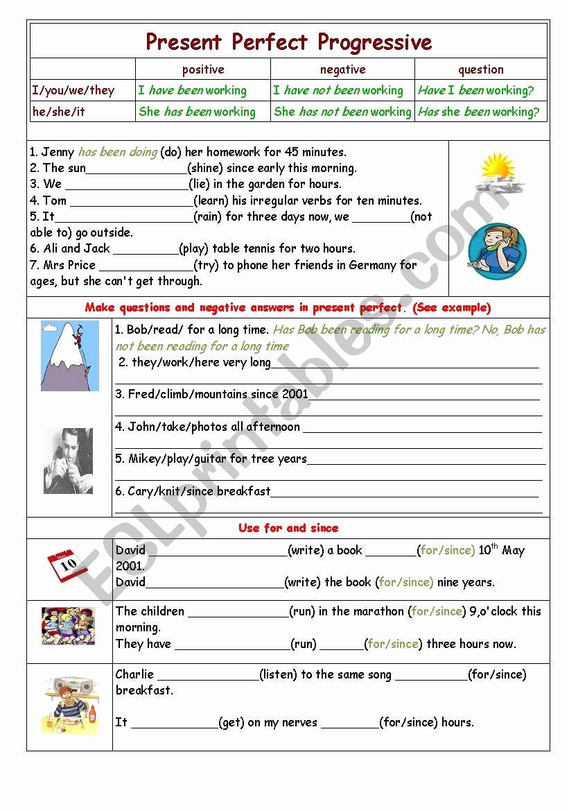 Present Progressive Worksheets Elegant Present Perfect Progressive Esl Worksheet by yetigumboots