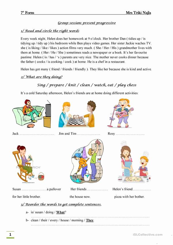 Present Progressive Worksheets Elegant Present Progressive English Esl Worksheets for Distance