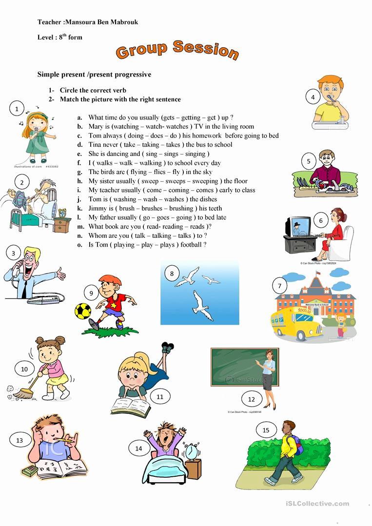 Present Progressive Worksheets Elegant Simple Present Present Progressive English Esl