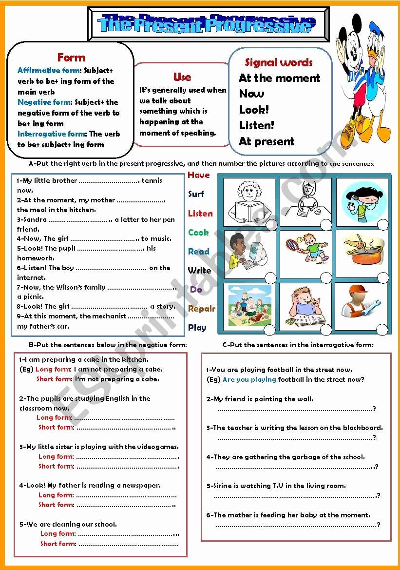 Present Progressive Worksheets Elegant the Present Progressive Esl Worksheet by Nessrine78
