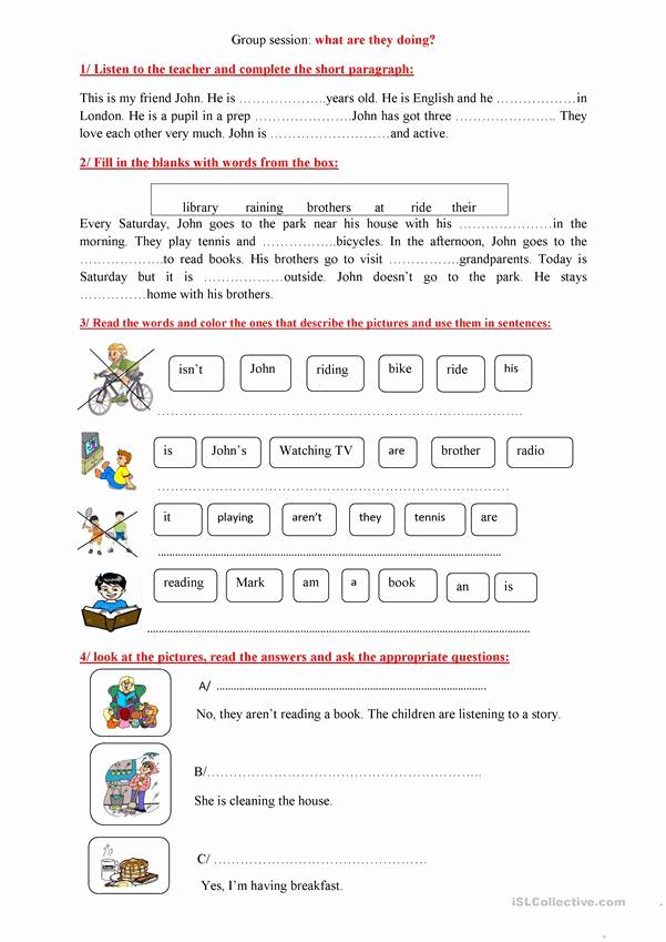 Present Progressive Worksheets Fresh Present Progressive Worksheet Free Esl Printable