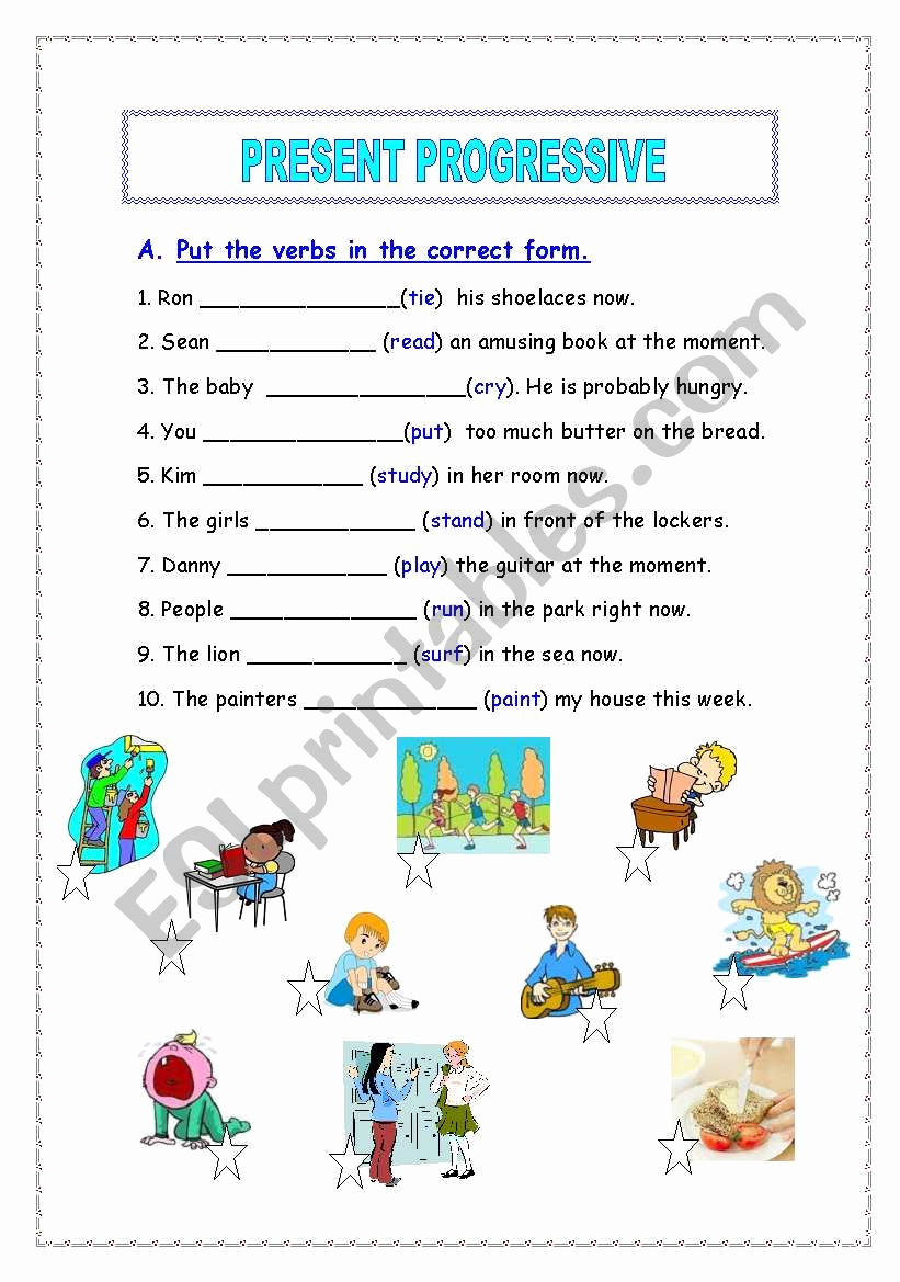 Present Progressive Worksheets Inspirational Present Progressive Esl Worksheet by Agami