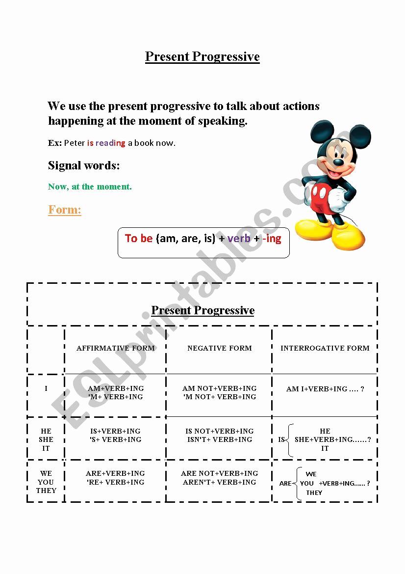 Present Progressive Worksheets Inspirational Present Progressive Esl Worksheet by Sweet Dreamer