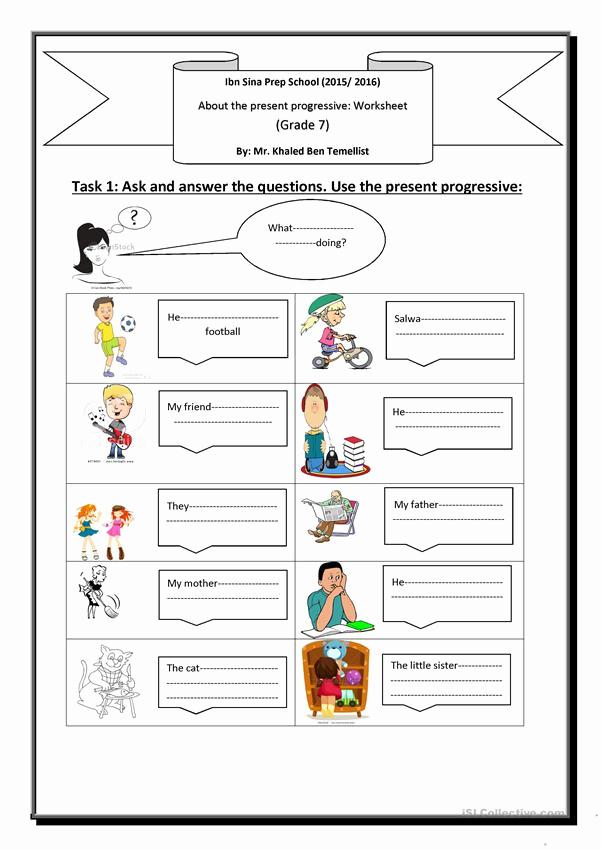 Present Progressive Worksheets Lovely Present Progressive Worksheet Free Esl Printable