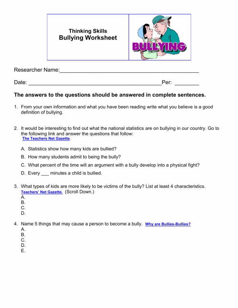 Printable Bullying Worksheets Awesome Worksheets Bullying for Elementary Students